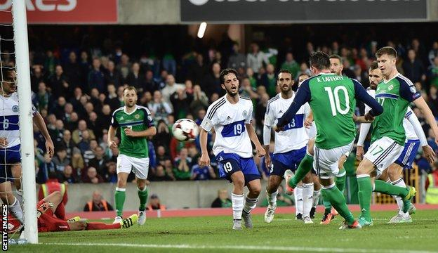 Kyle Lafferty scored twice after coming on as a substitute for Northern Ireland