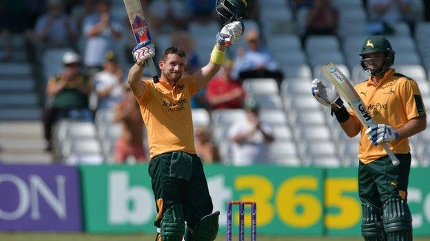 Nottinghamshire opening partners Riki Wessels (left) and Michael Lumb