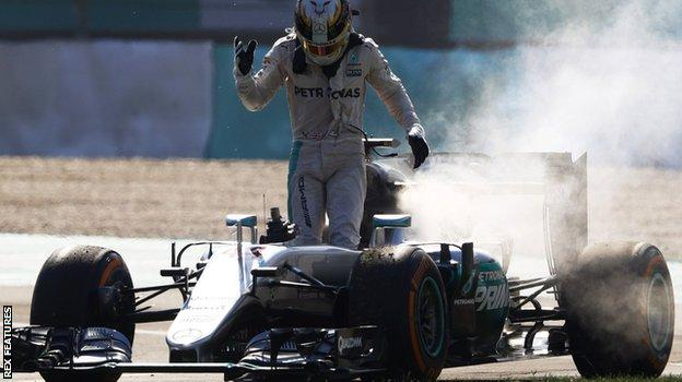 Lewis Hamilton's engine fails during the Malaysian Grand Prix