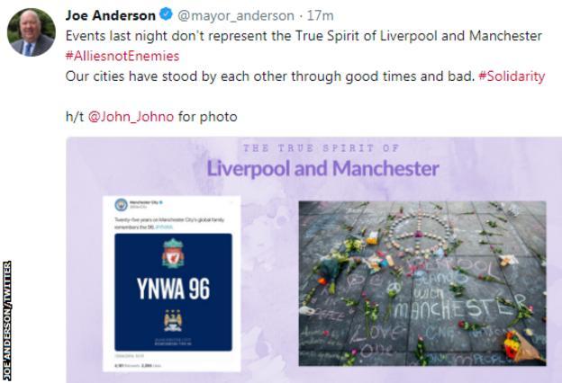 Tweet by Mayor of Liverpool Joe Anderson