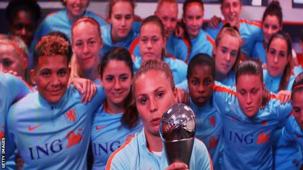 Lieke Martens speaks via video link after winning her award