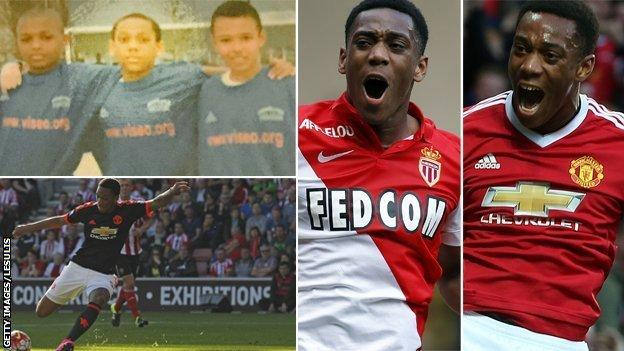 Anthony Martial as a youngster at Les Ulis and at Monaco and Manchester United