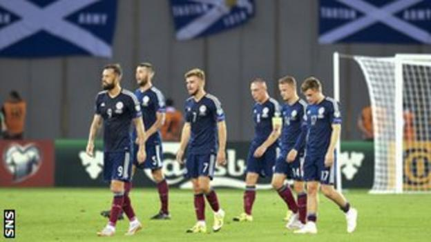 Scotland's players following defeat in Tblisi