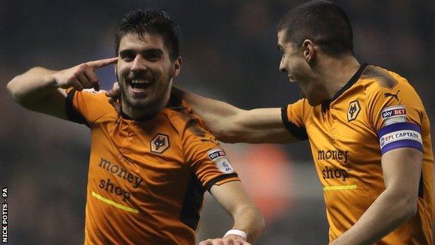 Wolves captain Conor Coady (right) led the celebrations at Molineux after Ruben Neves hit his dream volley against Derby County