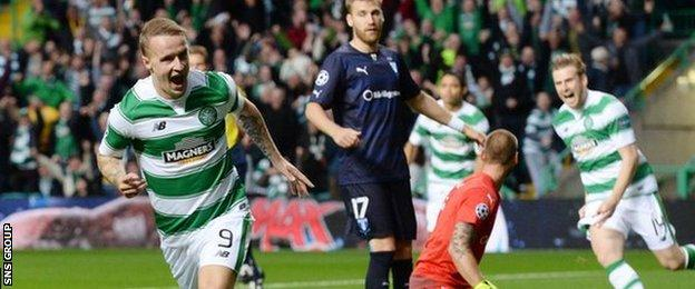 Leigh Griffiths double has given Celtic a narrow lead going into next week's return fixture
