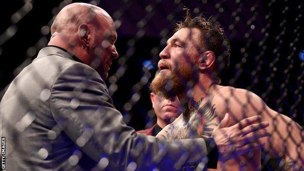 Dana White and Conor McGregor in the octagon after the Irishman's UFC 229 defeat by Khabib Nurmagomedov