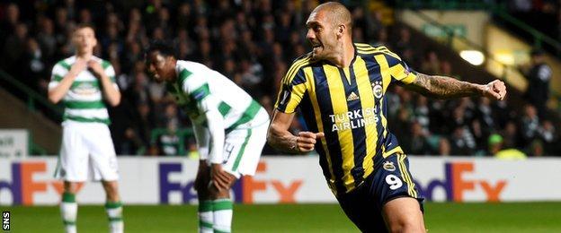 Fernandao celebrates after scoring for Fenebahce against Celtic
