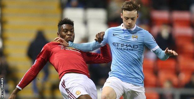 Brandon Barker in action for Manchester City Under-21s