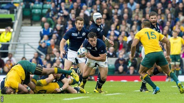 John Hardie playing for Scotland against Australia