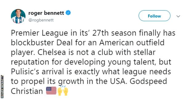 Roger Bennett said Christian Pulisic's move is exactly what the Premier League needs for its growth in America