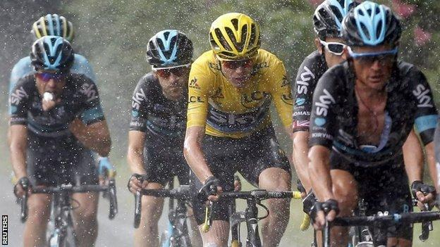 Chris Froome (in yellow) with Team Sky team-mates