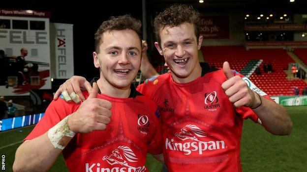 Michael Lowry and Billy Burns celebrate beating Leicester Tigers at Welford Road last season