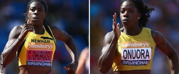 Christine Ohuruogo could not haul Anyika Onuora in near the finish line