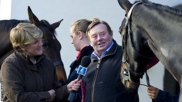 Channel 4 racing presenter Clare Balding with trainer Nicky Henderson