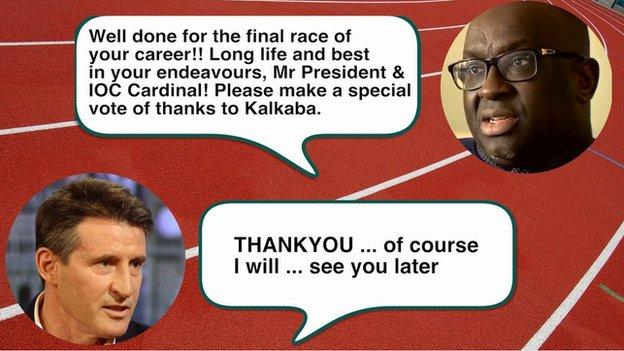Text message exchange between Lord Coe and Papa Massata Diack on the 19 August, 2015