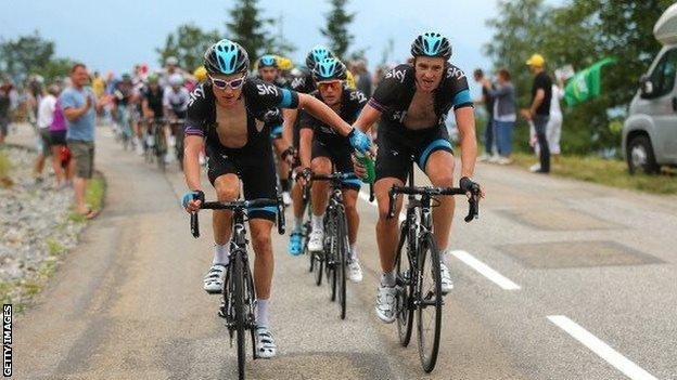Geraint Thomas and Ian Stannard riding in last year's Tour de France