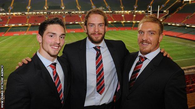 George North with fellow Llandovery College boys and Wales internationals Alun Wyn Jones and Andy Powell