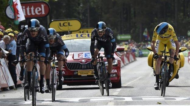 Team Sky cross the finish line on stage nine in Plumelec