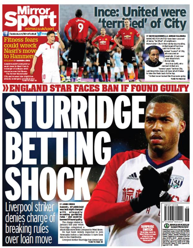 Mirro r back page on Tuesday
