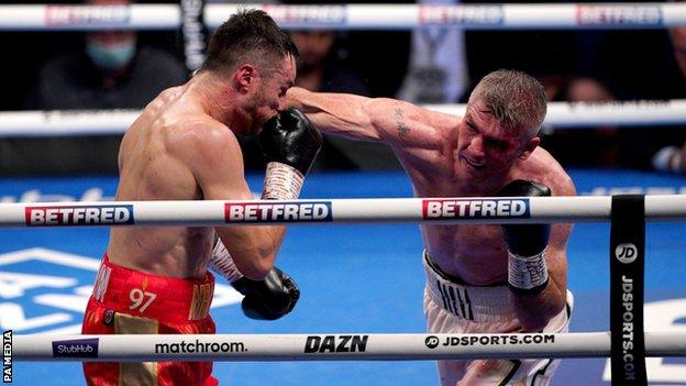 Liam Smith (right) in action against Anthony Fowler