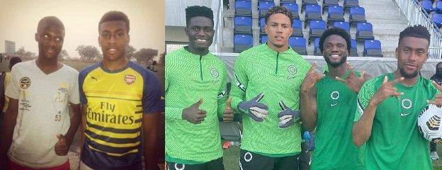 Terem Moffi with Alex Iwobi in 2015, and with Valentine Ozornwafor, Maduka Okoye and Iwobi in 2021