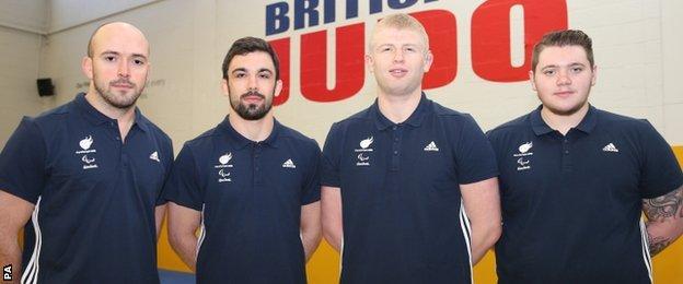 The GB judo team for Rio - Sam Ingram, Jono Drane, Chris Skelley and Jack Hodgson