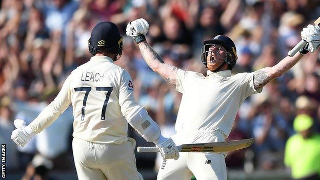 Jack Leach and Ben Stokes celebrate England's victory over Australia in the 2019 Ashes Test at Headingley