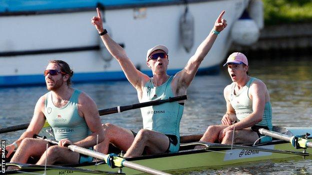 Cambridge celebrate winning the 2021 men's Boat Race