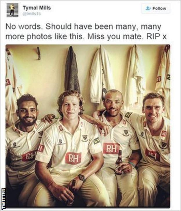 On Twitter, Hobden's team-mate Tymal Mills posted a picture of them celebrating
