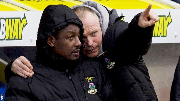 Russell Latapy and John Hughes in the Inverness dugout