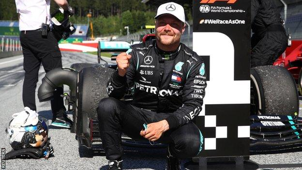 Valtteri Bottas celebrates winning the Austrian Grand Prix