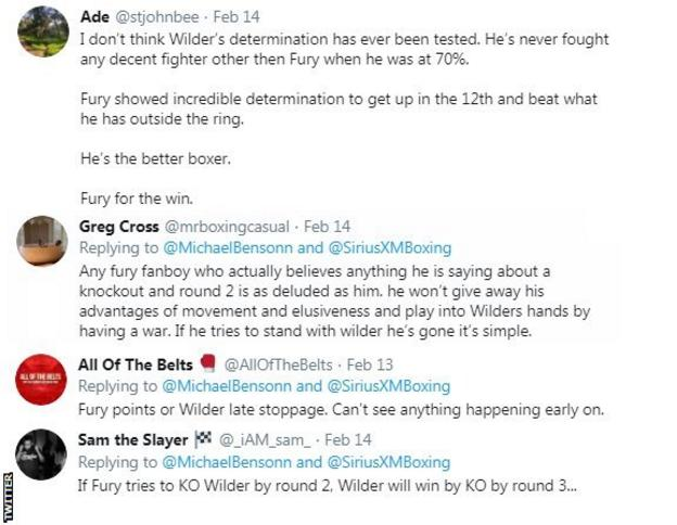 A screengrab of a selection of tweets, with some saying Tyson Fury will win and others saying Deontay Wilder will come out on top