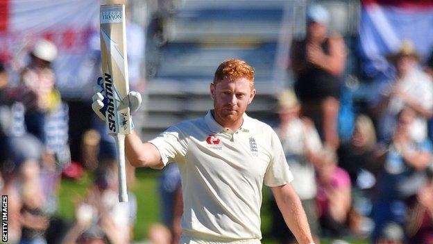 England's Jonny Bairstow celebrates reaching his century against New Zealand