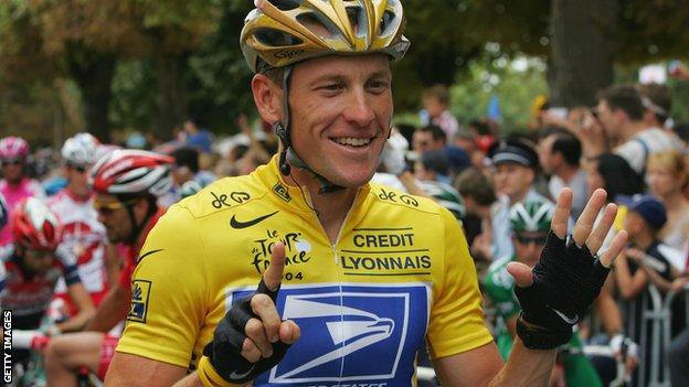 Lance Armstrong holds up six fingers to signify his six Tour de France wins to date