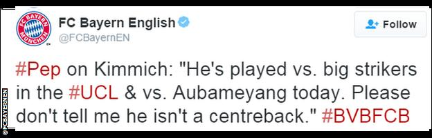Bayern Munich tweet