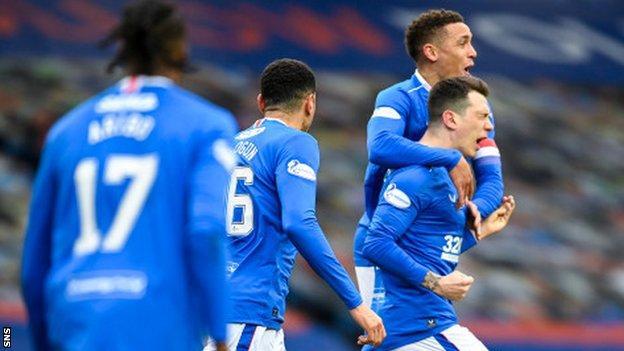 Rangers celebrate Ryan Jack's goal