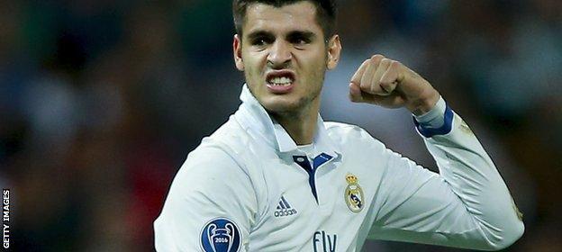 Alvaro Morata celebrates