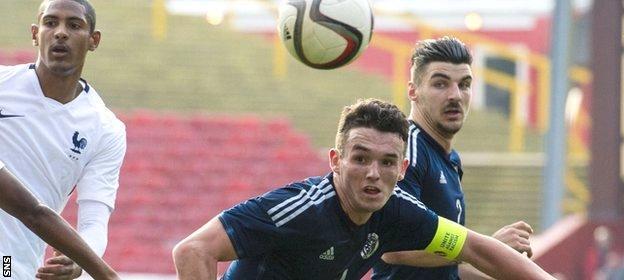 John McGinn plays for Scotland Under-21s against France