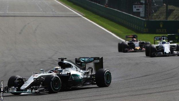Lewis Hamilton (44) driving his Mercedes during the Belgian Grand Prix
