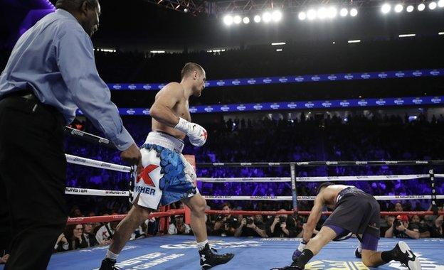 Sergey Kovalev knocks down Andre Ward in the second round
