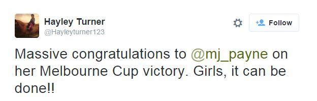 Tweet from British jockey Hayley Turner