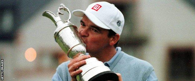 Paul Lawrie with the Claret Jug after winning the Open in 1999