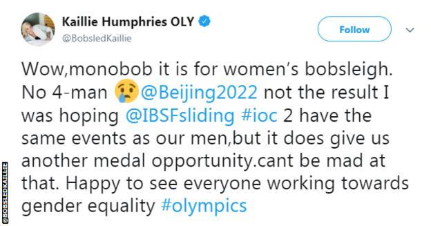 Kailie Humphries tweet