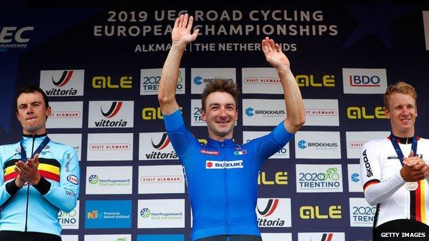 Italy's Elia Viviani won the men's title at the 2019 European Road Championships