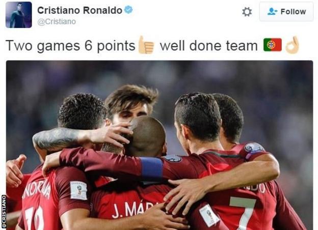 Cristiano Ronaldo tweet