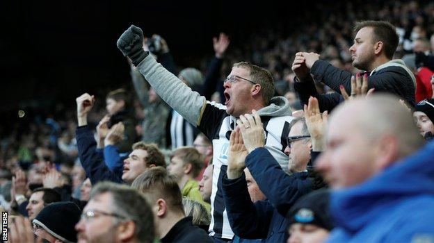 Newcastle fans at St James' Park on Sunday