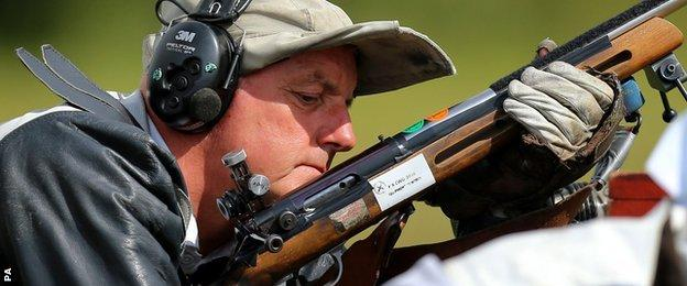 David Calvert competing in full bore event at the 2014 Commonwealth Games in Glasgow