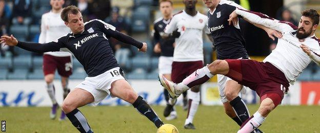 Dundee's Paul McGowan (left) battles for the ball with Hearts' Juanma