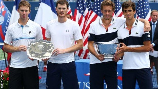 (l-r) John Peers, Jamie Murray, Nicolas Mahut and Pierre-Hugues Herbert