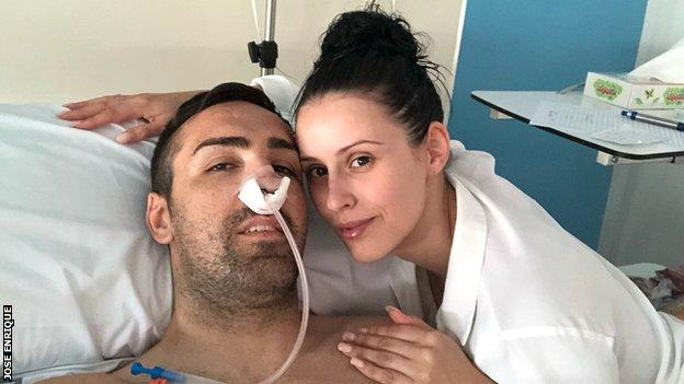 Jose Enrique in hospital after surgery
